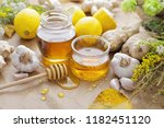 honey  garlic  herbs  lemon and ... | Shutterstock . vector #1182451120
