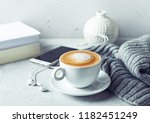cup of cappuccino coffee  a... | Shutterstock . vector #1182451249