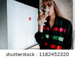 serious sad woman having... | Shutterstock . vector #1182452320