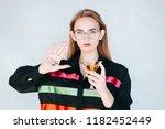 serious sad woman having... | Shutterstock . vector #1182452449