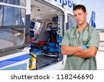 man doctor and a mobile flying... | Shutterstock . vector #118246690
