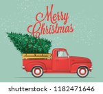 Stock vector merry christmas and happy new year postcard or poster or flyer template with retro pickup truck 1182471646
