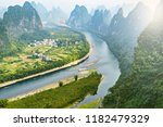 li river and karst mountains... | Shutterstock . vector #1182479329