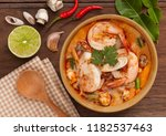Stock photo thai tom yum soup thai soup with shrimp coconut milk and curry 1182537463