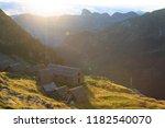 a mountain hut  capanna... | Shutterstock . vector #1182540070