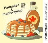 vector illustration of pancakes ...   Shutterstock .eps vector #1182543319