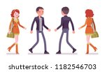 young man and woman walking.... | Shutterstock .eps vector #1182546703