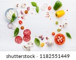 the ingredients for homemade... | Shutterstock . vector #1182551449