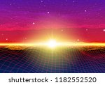retro neon background with 80s... | Shutterstock .eps vector #1182552520