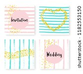 wedding confetti with stripes.... | Shutterstock .eps vector #1182553150