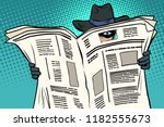 spy watches through the... | Shutterstock .eps vector #1182555673