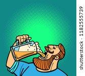 bearded man drinking a mug of... | Shutterstock .eps vector #1182555739