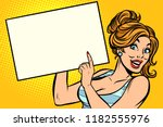 Woman Points To A Blank. Comic...