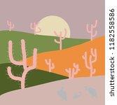 flat cartoon on gray  green and ... | Shutterstock .eps vector #1182558586