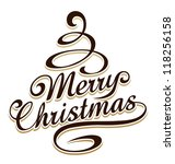 merry christmas typography with ... | Shutterstock .eps vector #118256158