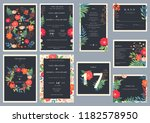 wedding set with floral... | Shutterstock .eps vector #1182578950