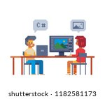 colleagues working in workplace ... | Shutterstock .eps vector #1182581173
