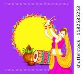 illustration of garba festival... | Shutterstock .eps vector #1182585253