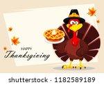 happy thanksgiving  greeting...   Shutterstock . vector #1182589189