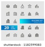 building icons. set of line... | Shutterstock .eps vector #1182599083