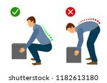 correct posture to lift a heavy ... | Shutterstock .eps vector #1182613180