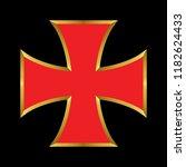 vector templar red cross with... | Shutterstock .eps vector #1182624433