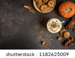 pumpkin spice latte. cup of... | Shutterstock . vector #1182625009