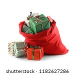 santa claus bag full of gifts... | Shutterstock . vector #1182627286