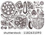 hand drawn italian pizza... | Shutterstock .eps vector #1182631093
