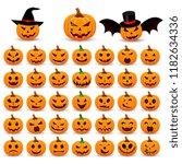 big set pumpkin on white... | Shutterstock .eps vector #1182634336