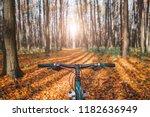mountain biking down hill... | Shutterstock . vector #1182636949
