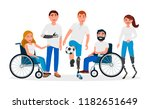 disabled people with... | Shutterstock .eps vector #1182651649