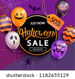 sale banner for happy halloween ... | Shutterstock .eps vector #1182655129