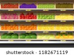 fresh fruits for sale display... | Shutterstock .eps vector #1182671119
