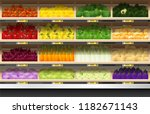 fresh vegetables for sale... | Shutterstock .eps vector #1182671143