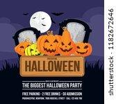 halloween party banner template ... | Shutterstock .eps vector #1182672646