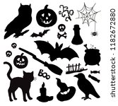 silhouettes halloween... | Shutterstock .eps vector #1182672880