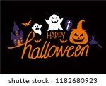 happy halloween text banner | Shutterstock .eps vector #1182680923