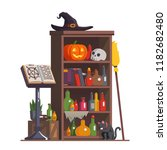 witch cupboard with accessories ... | Shutterstock .eps vector #1182682480