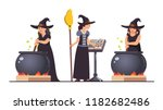 three witches set. stirring... | Shutterstock .eps vector #1182682486