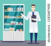 male pharmacist showing... | Shutterstock .eps vector #1182687400