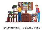 two carpenters workers men... | Shutterstock .eps vector #1182694459