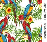 tropical seamless pattern with... | Shutterstock .eps vector #1182695980