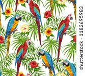 tropical seamless pattern with... | Shutterstock .eps vector #1182695983