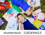 authentic artist children in... | Shutterstock . vector #1182696613