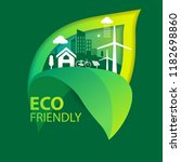 eco green city.save the world... | Shutterstock .eps vector #1182698860