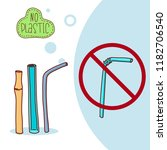 reusable steel bamboo  glass ...   Shutterstock .eps vector #1182706540