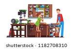 daughter girl kid helping... | Shutterstock .eps vector #1182708310