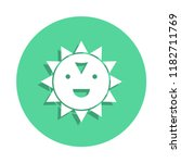 cheerful sun icon in badge...