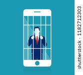 mobile phone prisoner. addicted ... | Shutterstock .eps vector #1182712303